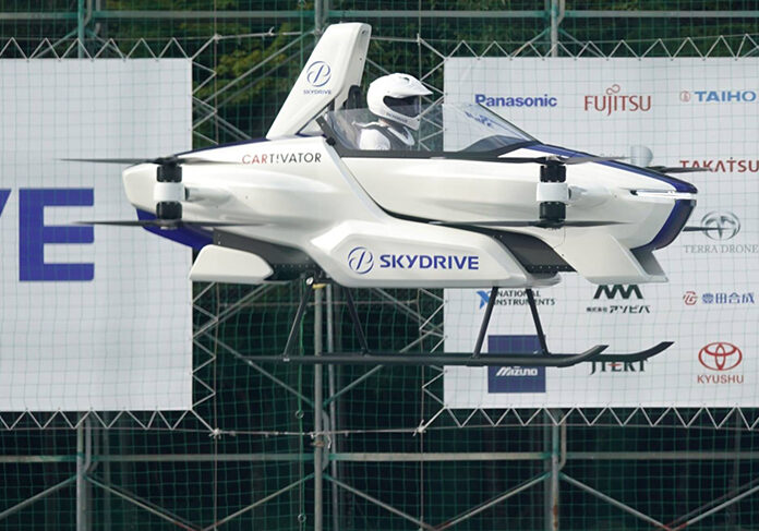 The SkyDrive Inc. SD-03 flying car is test-flown during a demonstration to the media at the Toyota Test Field in Toyota City, Aichi Prefecture, Japan, on Tuesday, Aug. 25, 2020. Japan's government wants the country to become a leader in the flying-car technology,producinga national road map for its development and studying ways to define and advance regulations.Photographer: Toru Hanai/Bloomberg
